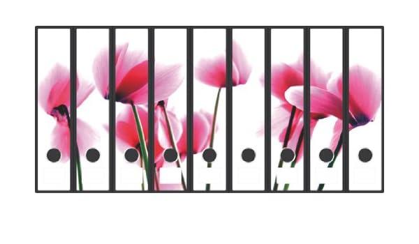 Wallario Ordnerrücken selbstklebend 9 breite Ordner Rosa Flamingos