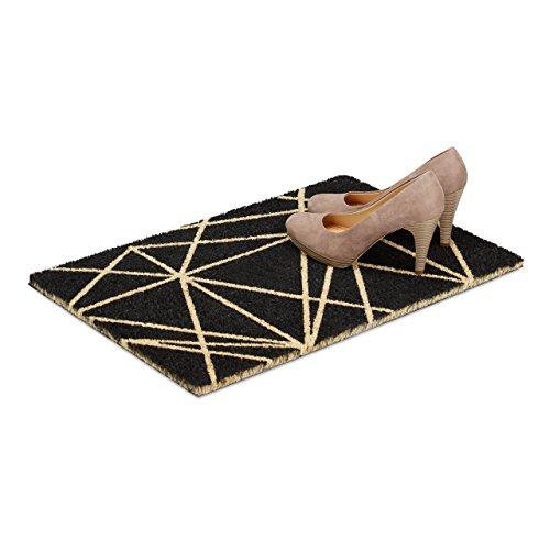 Relaxdays Fußmatte Muster aus Kokos, HxBxT: 1,5 x 60 x 40 cm, reckteckig, rutschfest, Kokosfaser, Gummi, schwarz-natur