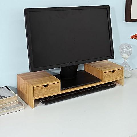 Promotion -30%! SoBuy® FRG197-N Réhausseur d'écran Support de Moniteur Écran Support pour Écran d'ordinateur ergonomique en Bambou