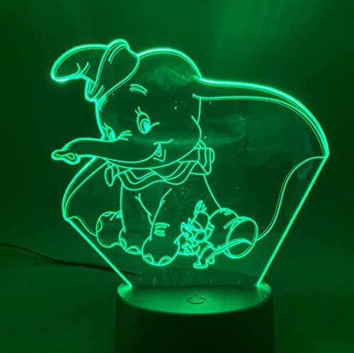 Lámpara De Ilusión Lámpara 3D Niños En Casa Con Luz De Sueño Ambiente De Dormitorio Usb Lámpara De Elefante De Luz Nocturna Led