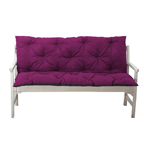 4L Textil Gartenbankauflage Bankauflage Bankkissen Sitzkissen Polsterauflage Sitzpolster (150x60x50, Violett)