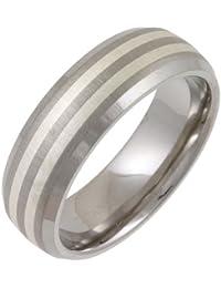 Theia Titanium and Silver Inlay Court Matt 7 mm Ring