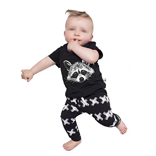 Fletion Bambino Fashion Cotone Fox testa maglietta a maniche corte stampata con XX Pantaloni Set completo Tuta Vestiti per bambini 0-4anni Black 110 cm(2 Anni Vecchio)