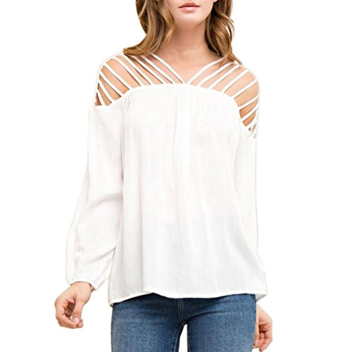 Hirolan Mode Frau Chiffon Lange Hülse T-Shirt Solide Farbe Beiläufig Weiß Bluse Aus Schulter Lose Sexy Tops (Weiß, L) (Muscle Tee Solides)