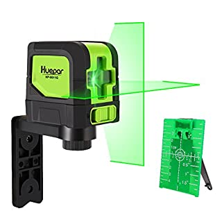 Green Beam Laser Level for DIYers Huepar 9011G Mute Self Leveling Horizontal and Vertical Cross Green Laser Lines Class 2 Standard, Including Magnetic Pivoting Base, Laser Target, and 2*AA Batteries