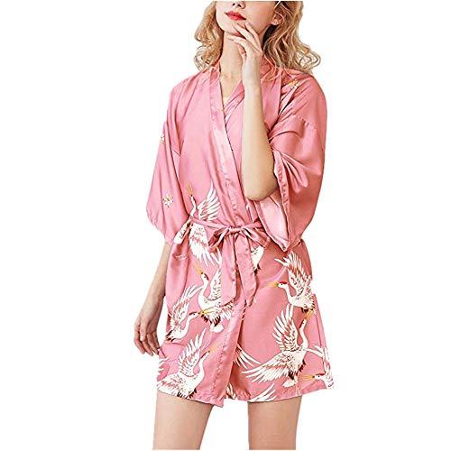 Fansu Kimono Albornoz De Seda Ropa, Mujer Bata Novia Casa De Estilo Saten Batas Cortos Dormir Albornoz de Dama de Honor Pijamas de Noche (L,Rojo Coral)