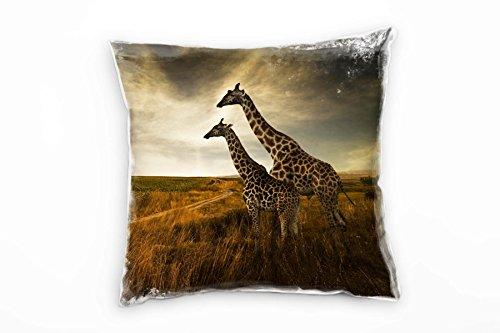 Paul Sinus Art Tiere, Braun, Giraffen, Afrika, Savanne Deko Kissen 40x40cm für Couch Sofa Lounge Zierkissen - Dekoration Zum Wohlfühlen Hergestellt in Deutschland