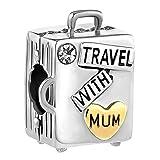 Korliya - Charm per braccialetto, motivo: viaggio con mamma
