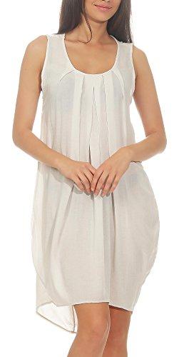leid knielang | elegantes Kleid für den Strand | klassisches Freizeitkleid | Partykleid 1120 (beige) (Klassisches Kleid Bis)