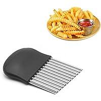 Cortador de arrugas inoxidable de cocina herramienta de corte para cortar patatas y frutas y verduras y gofres. Tamaño 14 x 9 cm