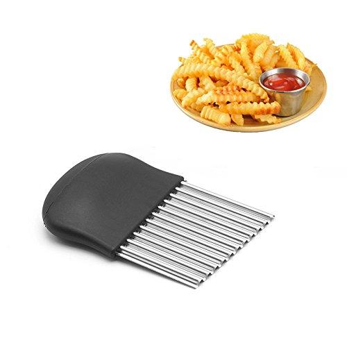 Somine Wellenschneider aus rostfreiem Stahl – einen Küchenhelfer zur Schneidung von Kartoffel, Gemüse und Obst oder Waffel- Größe 14 x 9 cm