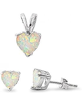 Sterlingsilber Sets - Weißer Opal Herz
