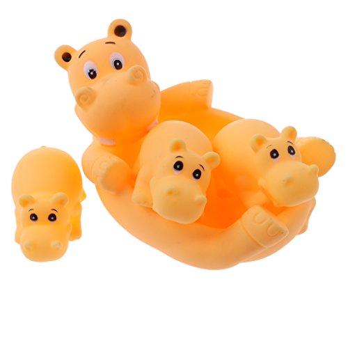 T TOOYFUL 4 Stü Süße Gummi Quietschende Schildkröte Familie Kinder Baby Kleinkind Bad Zeit Spielzeug - Flusspferd