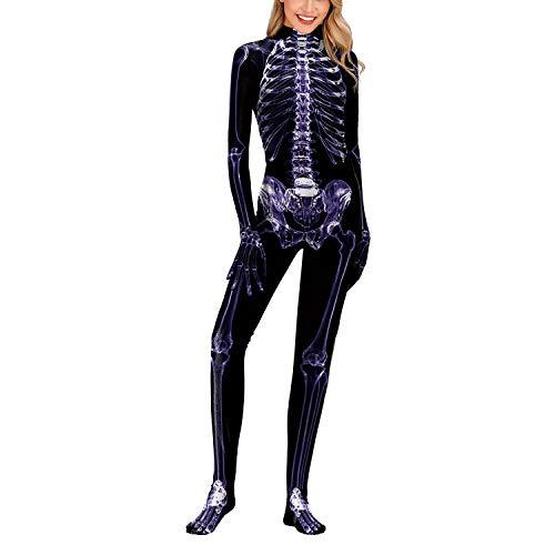 Mädchen Knochen Skelett Kostüm - YCLOTH Halloween Jumpsuit Kostüme - Frauen Mädchen 3D-Druck Skelett Skin Anzug Knochen Kostüme Cosplay Kostüm Overall, Material, Schwarz, M 0.00watts