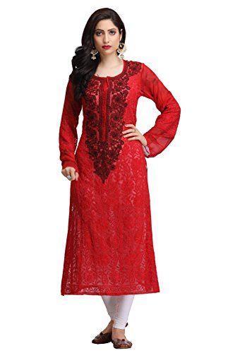 ADA Fully Embroidered Lucknowi Chikan Casual Wear Faux Georgette Kurta Kurti A160763