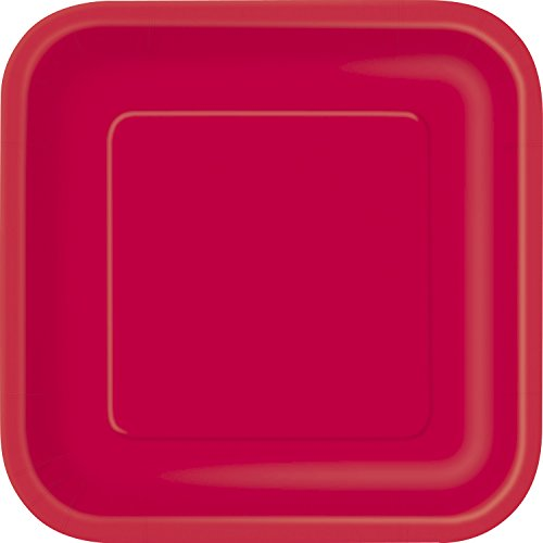 Party Pappteller,18cm, quadratisch,16Stück (Rot Party Pappteller)