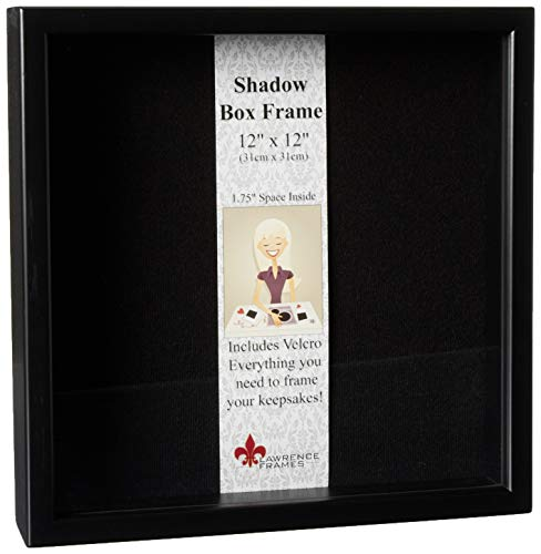 Lawrence Frames 790012 Black Wood Shadow Box Picture Frame, 12 by 12-Inch -