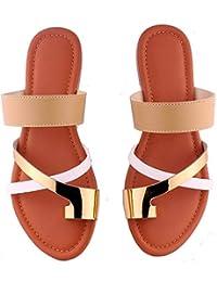 Foot Wagon Gold White Creame Strap Toe Flats |Tan Sole| Sandals | Flats |Ladies Sandal |Cross Strap|Women Flats | Ladies Slippers |Girls Slippers |Toe Flats| Chappals|