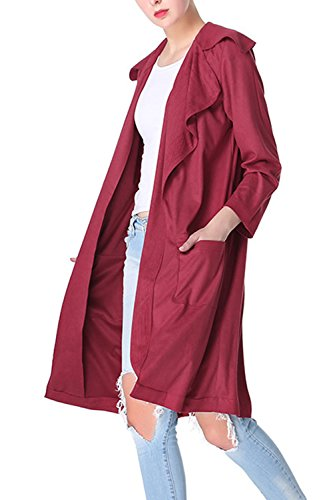 Le Donne Eleganti Oversize Colletto Aperto Davanti Pur Lungo Impermeabile Outwear Camoscio Red