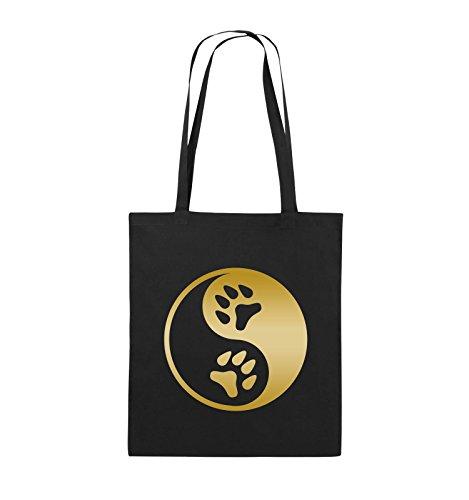 Comedy Bags - YING YANG - PFOTE2 - Jutebeutel - lange Henkel - 38x42cm - Farbe: Schwarz / Silber Schwarz / Gold
