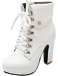 3169c39f47b4 AIYOUMEI Damen Schnürstiefeletten Blockabsatz Plateau High Heel Stiefeletten  mit Schnürung und Absatz 10cm Ankle Boots Women