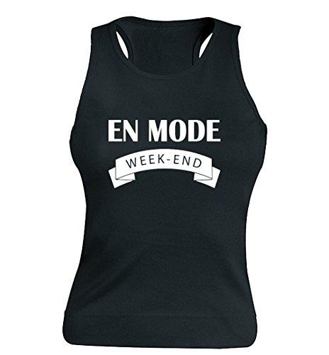 """T-shirt Femme 100% Coton - """"En mode week-end"""" - Sans Manches Noir"""