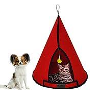 Bundera Cat Tower Kedi Yuvası Evi Köpek Yatağı Kulübesi Minderi Evcil Hayvan Pet Çadırı Yuva Kulübe (Kırmızı)