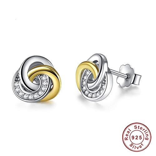 ZHWM Ohrringe Ohrstecker Ohrhänger Modeschmuck 925 Sterling Silber Kleine Gold Farbe Twist Liebe Knoten Für Frauen Frauen Baumeln 1 para