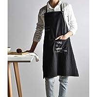 FDDHM Hermoso Delantal Diseño Señoras Negro Breve Viento Hada Algodón Lino Cocinar Delantal De Cocina para