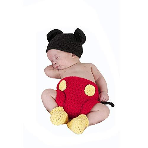 3 Kostüm Teilig Detail - Yunbo-BC Baby Fotografie Prop Kostüm Neugeborene Fotografie Prop Baby Kostüm häkeln Maus Hut Cap Windel 3-teilige Anzug Neugeborene Kleidung