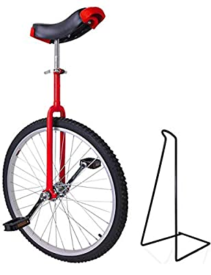 """Funsport Einstellbares Einrad 24""""Mit Ständer Rot"""