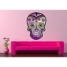 Diseño de calavera mexicana Rosa Calavera vinilo de pared adhesivo 5 Tamaños, vinilo, Rosa
