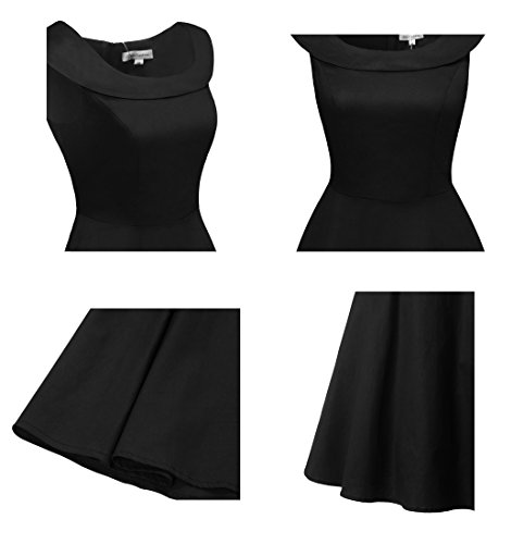 Bbonlinedress 50s Vintage Retro U-Ausschnitt Rockabilly Cocktail Party Kleider Black 3XL -