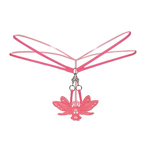 WXQDD Underwear Versuchung Dessous Frauen Schmetterling Blume Spitze Durchsichtig Low Rise G-Strings Thongs Slip Slip, Watermelon Red, One Size - Schmetterling G-string Babydoll