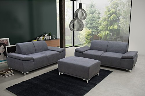 PIACENZA 3er Boxspringsofa 3-Sitzer Sofa Couch Microfaser Dunkelgrau -