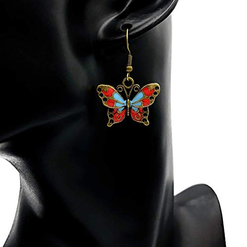 Ohrringe BUTTERFLIES mehrfarbig bunt Schmetterling vintage Bronze antik hängend handmade einzigartig Damen Mädchen Schmuck Design modern filigran Muster Jugendstil