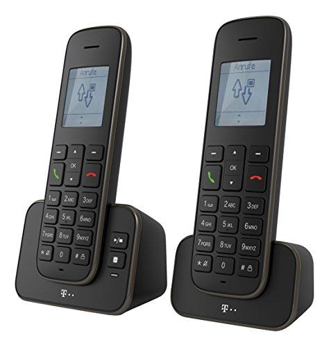 Telekom 40367539 Sinus A207 Duo Schnurlostelefon analoges DECT Telefon mit Anrufbeantworter und zusätzlichem Mobilteil schwarz