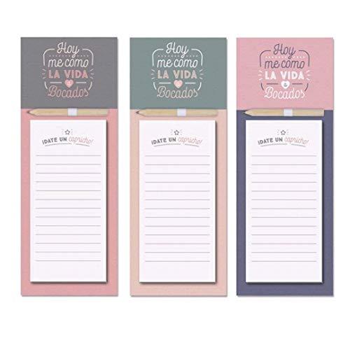 D'CASA Pack de Tres blocs de Notas con imán para Nevera Frase...