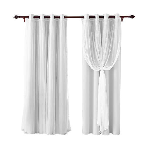 Deconovo tende oscuranti termiche a doppio velo tende voile per camera da letto 2 pannelli 140x260cm bianco sporco