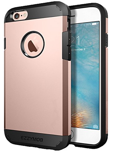 EZZYMOB iPhone 6 plus case cover, Shockproof, Heavy duty Hybrid armor cover case for apple iPhone 6/6s and 6 Plus (Many Colour) -by EzzyMob (Rose Gold, iPhone 6 Plus 5.5 inch)