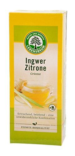 Lebensbaum Grüntee mit Ingwer & Zitrone im Beutel (20 Beutel) - Bio -