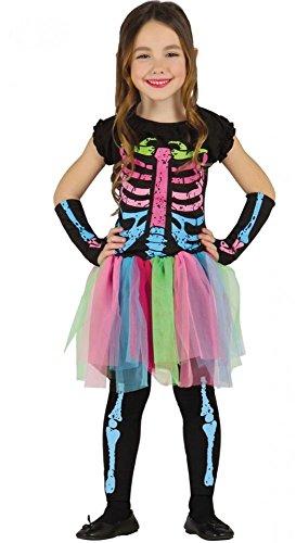 Kinderkostüm Tutu-Skelett Neon für Mädchen Halloween Knochen Kleid, Kindergröße:134 - 7 bis 9 Jahre (Mädchen Halloween-leggings)