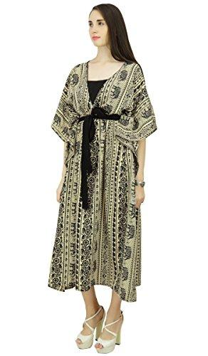 Phagun Kaftan Polyester Bohemian Abstrakt Kaftan lange Maxi-Kleid Nachtwäsche Beige und Schwarz