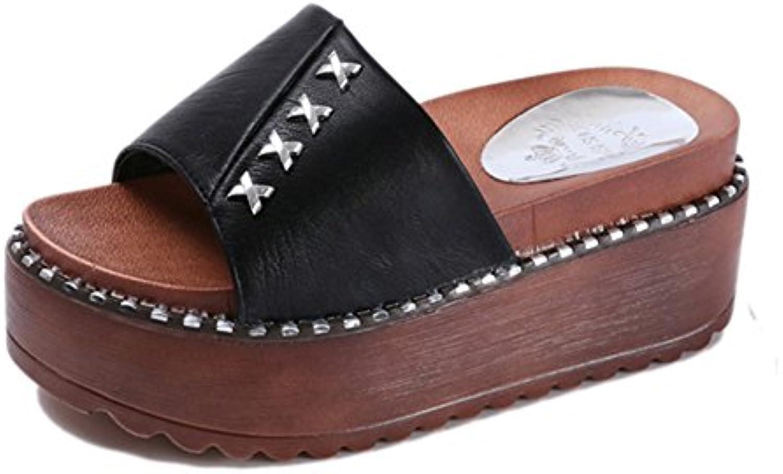 bf441db4e15a3c les sandales de chaussures femmes pantoufle de caractères caractères  caractères à rivet épais muffin avec kaka (2 couleurs, 5 ting ting  (couleur: ...