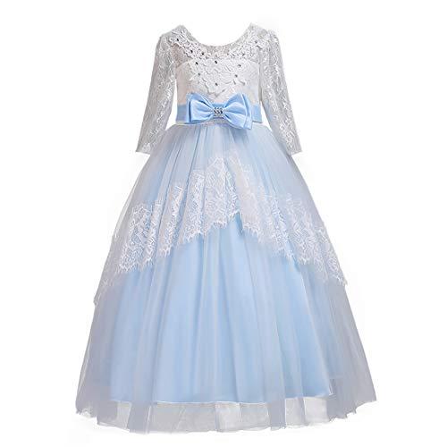BESBOMIG Kinder Brautkleider Mädchen Kleider 3-14 Jahre mit Ärmeln - Spitze Schwanz Rock Backless Halloween Party Kostüm