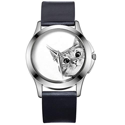 MJARTORIA Unisex Armbanduhr Schwarz Silikon Armband Katze Print Zifferblatt Uhr Mädchen Jungen Geschenk Analog Quarzuhr (Weiss)