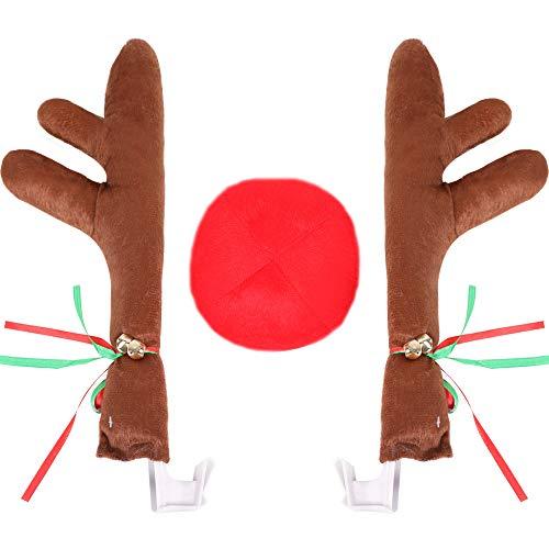 (DANSPEED Weihnachten Auto Rentier Geweih Nase Auto Dekoration Kit mit Jingle Bell Weihnachten Kostüm Auto Zubehör)
