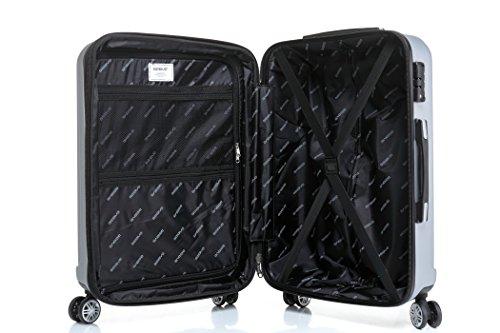 2080 TSA-Schloß Zwillingsrollen 3 tlg. Reisekofferset Koffer Kofferset Trolley Trolleys Hartschale in 12 Farben (Silber) - 8
