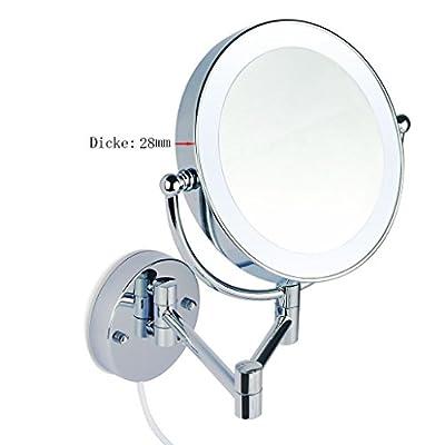 LED Beleuchtet wunderschöne Kosmetikspiegel 1+5Fach Infrarot-Sensor (3cm extra dick) hochwertig ohne Bohren JL58-5-NB von JLSun
