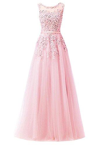 Ever Love A-Linie Lang Spitze T¨¹ll R¨¹ckenfrei Abendkleid Ballkleid Hochzeit Brautjungfernkleid mit Tr?ger Pink-38